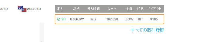 ザ・バイナリー(THEバイナリー)100円取引結果