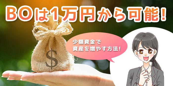 バイナリーオプションは1万円からでも可能!少額資金で資産を増やす方法